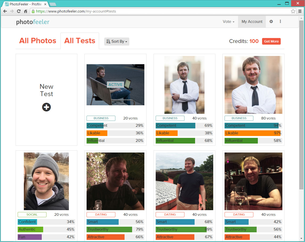 PhotoFeeler account page with business, social, and dating photo tests